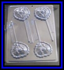 Ruffled Heart with Rose and Bow Clear Lollipop Chocolate Candy Mold New