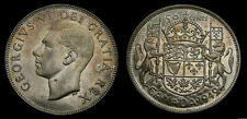 Canada 1949 Silver 50 Cent Piece King George VI Toned UNC