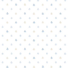PP35512 - Pretty Prints 4 Fleur De Lys Polka Beige Blue White Galerie Wallpaper