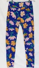 LULAROE Women's One Size Navy Blue Floral Print Leggings