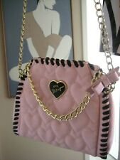 Betsey Johnson Love Blush Pink Quilted Hearts Satchel Shoulder Crossbody Purse