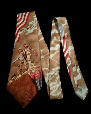 Vintage 1950s Wide Tie-Acetate-Scenic-Western-13 Star Flag-Hiking Family-Italy