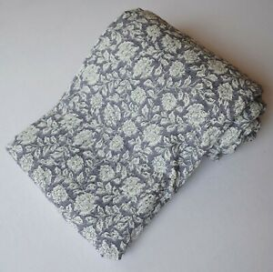 Traditional Cotton Queen Size Kantha Bedding Quilt Gray Paisley Print Coverlet