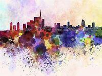 ART PRINT PAINTING DRAWING CITYSCAPE COLOUR SPLASH MILAN SKYLINE LFMP0405