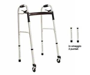 Deambulatore girello per anziani con 2 ruote piroettanti e 4 puntali