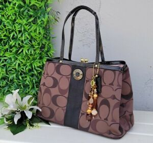 NEW Coach choc brown Signature Stripe Framed Carryall Tote shoulder bag purse