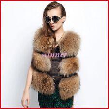 Winter Luxury Womens real fox Fur Waistcoat Sleeveless Gilet Short Warm Vests sz