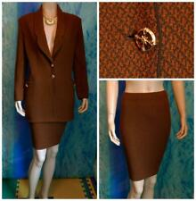 St. John Collection Brown Jacket Skirt L 12 14 2pc Suit Gold Buttons Pockets