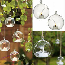 6pcs Clear Hanging Glass Bauble Sphere Ball Candle Tea Light Holder Garden 10cm