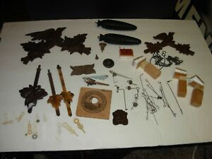 Large Lot of Vintage Cuckoo Clock Parts Pieces Hardware Hands Birds and More