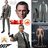 """1/6 Scale James Bond 007 Agent Head Sculpt+Clothes Set+Figure Body 12"""" Hot Toys"""
