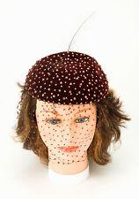 "Vintage ""Mr. D'"" women's STUDDED HAT brown velvet w/8"" FEATHER & netting 1950s"