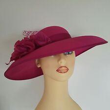 Ladies Wedding Hat Races Mother Bride Ascot Cerise Pink Flowers