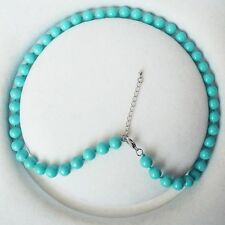 Sea Shell Pearl Necklace 18'' Aaa+ 8mm Round Turquoise Color South