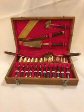 Vintage S. Samran Thailand Co.Cutlery Dessert Set 17 Pieces in Wood Box