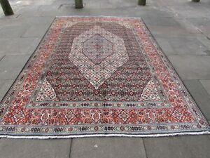 Vintage Hand Made Traditional Oriental Wool Black Orange Large Carpet 304x207cm