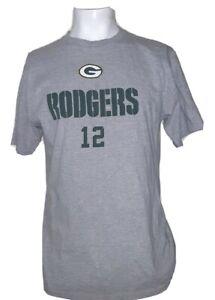 Green Bay Packers #12 Aaron Rodgers NFL Football Gray T shirt  Mens Sz L 46 x 29