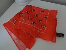 Ralph Lauren orange Polo Pony 100% Leinen Taschen SQUARE Taschentuch Hankie