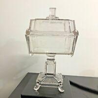 Glass Square Pedestal Compote Candy Dish Lid Box Vintage Sun Purple Vintage