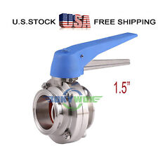 """1.5"""" Sanitary Clamp Handle Butterfly Valve Stainless Steel 304 Food Grade"""