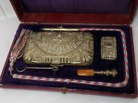 VERY RARE SPANISH ANTIQUE SILVER SMOKING SET IN FITTED BOX. COMPLETE. RECUERDO.