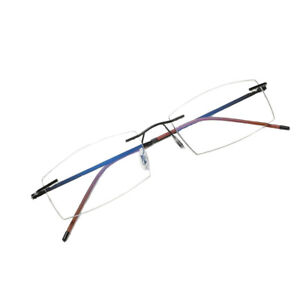 +1.5 Vintage Rimless Reading Glasses Flexible Black Frame Eyeglasses Men Eyewear