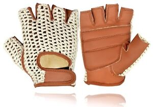 Mens Real Leather Cycling Gloves Padded Palm Classic Vintage Style Cycle Glove