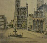 Karl Zwicker (XX) antike Farbradierung: DANZIG, LANGEMARKT & RATHAUS (Gdańsk)