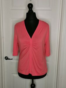 DAVID NIEPER Ladies Top T Shirt UK 14 Coral Ruched Short Sleeved Jersey Stretch