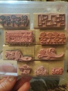 Stampin Up 2004 Smorgasboarders 9 Wood Mounted Rubber Stamp Set