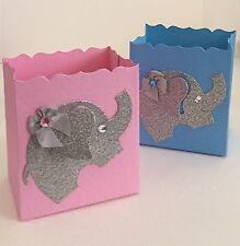Baby Shower Gender Reveal Or Boy/Girl Twins Favor Boxes, Elephants, Pink,Blue,10