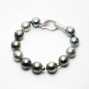 Big Real Tahitian Sea Cultured Pearl Beaded Bracelet 925 Sterling Silver Clasp