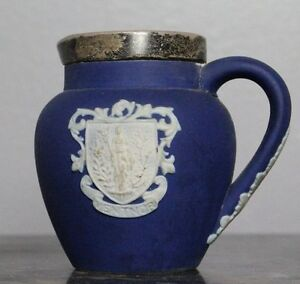 Rare Antique 1800 Adams Tunstall Pitcher with Handle Silver Rim Band Royal Crest