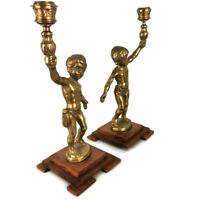 Pair 2 x Vintage Brass Cherub Angel Candlesticks on Wooden Plinths 28cm High