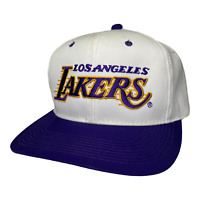 Vintage 90s Los Angeles Lakers Sport Specialties Twill White Snapback Hat Cap