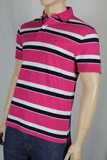 Tommy Hilfiger Fuschia White Navy Blue Polo Shirt Stripes NWT Small S