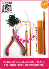 Feather & Human Hair Extensions Plier Micro Link Metal Looping / Pull Tool Kits