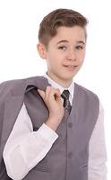 Boys Grey 5 Piece Suit Jacket Waistcoat Trousers Shirt & Tie Age 1-15 Years BNWT