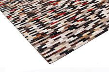 Leather Hide Patchwork Area Rug Carpet, Multicolored natural tones, 4'x6'
