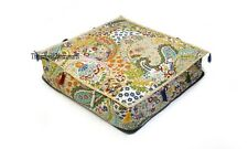 "20"" Square Beige Cushion Cover Indian Handmade Cotton Floor Kantha Pillows Case"