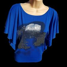 LADIES TOP SEQUINS BLOUSE CASUAL BLUE BUTTERFLY WINGS UK SIZE 10 OR 12 PETITE