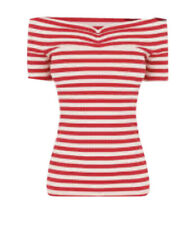 Women's Warehouse Red Striped Ribbed Bardot Top Size 12 BNWT RRP £26