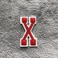 White and Red Letter X Iron On Embroidery Applique Patch Sew Iron Badge Patches