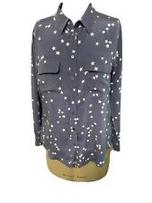 EQUIPMENT FEMME 100% Silk Long Sleeve Button Up Shirt Top LARGE Gray/White Stars