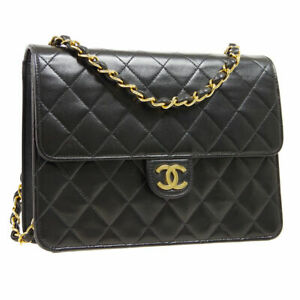 CHANEL Quilted CC Single Chain Shoulder Bag 5872126 Purse Black Satin / 31569
