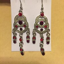 Catcher Chandelier Hook Dangle Earrings Nwt Ruby Red Crystal Silver Dream