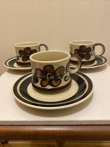 3 Vintage Arabia Finland Ruija Coffee Cups & Saucers