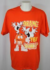 "M&M's Brand ""Orange You Scared?"" Orange M&M Candy Ghost T Shirt Men Size XL"