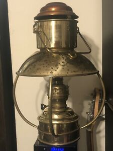Vintage Ideal Brenner Large Brass Trawler lamp oil kerosene cabin lantern