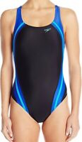 Speedo Women's Swimwear Black Size 10 Powerflex Hydro Bra One-Piece $78 #159